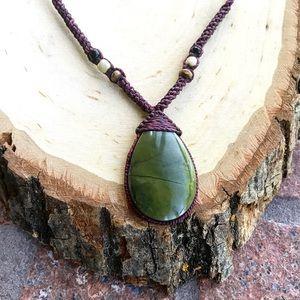 Boho Burgandy macrame necklace serpentine stone